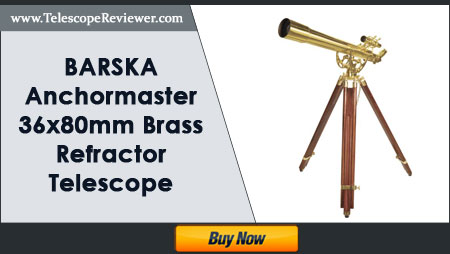 BARSKA Anchormaster 36x80mm Brass Refractor Telescope with Mahogany Floor Tripod