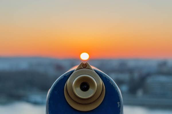 Focus image of a telescope on a sunset
